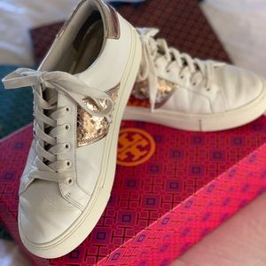 Tory Burch carter leather lace up sequin sneaker.
